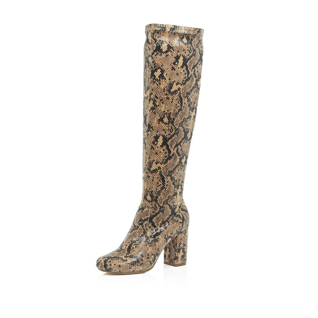 Womens Brown Snake Print Knee High Boots - predominant colour: camel; occasions: casual, creative work; material: faux leather; heel height: mid; heel: block; toe: round toe; boot length: over the knee; style: standard; finish: plain; pattern: animal print; season: s/s 2016; wardrobe: highlight