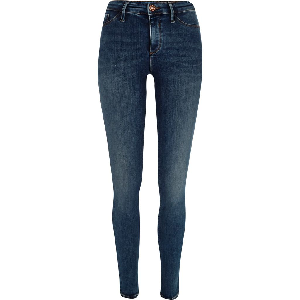Womens Mid Blue Wash Molly Jeggings - length: standard; pattern: plain; waist: high rise; style: jeggings; pocket detail: traditional 5 pocket; predominant colour: royal blue; occasions: casual; fibres: cotton - stretch; jeans detail: dark wash; texture group: denim; pattern type: fabric; season: s/s 2016; wardrobe: basic