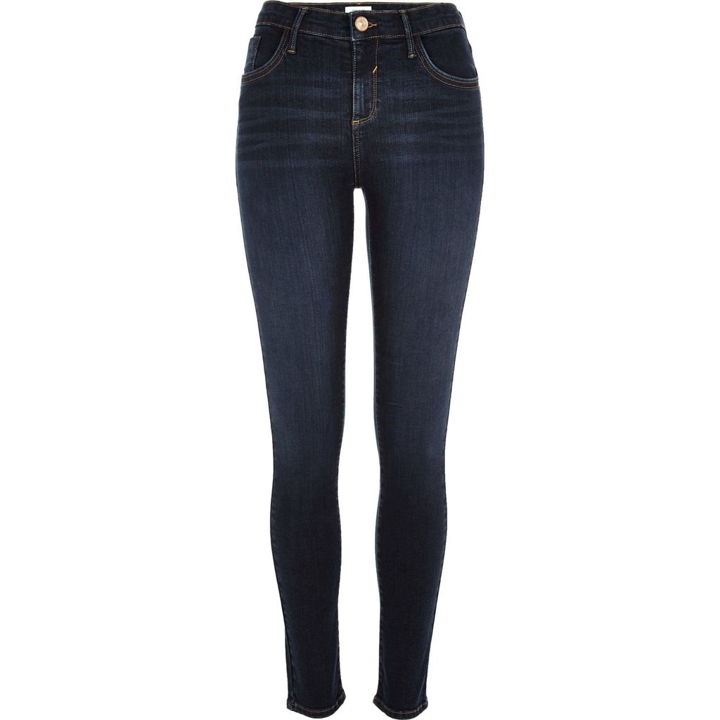 Womens Dark Faded Wash Amelie Super Skinny Jeans - style: skinny leg; length: standard; pattern: plain; pocket detail: traditional 5 pocket; waist: mid/regular rise; predominant colour: navy; occasions: casual; fibres: cotton - stretch; jeans detail: whiskering; texture group: denim; pattern type: fabric; season: s/s 2016; wardrobe: basic