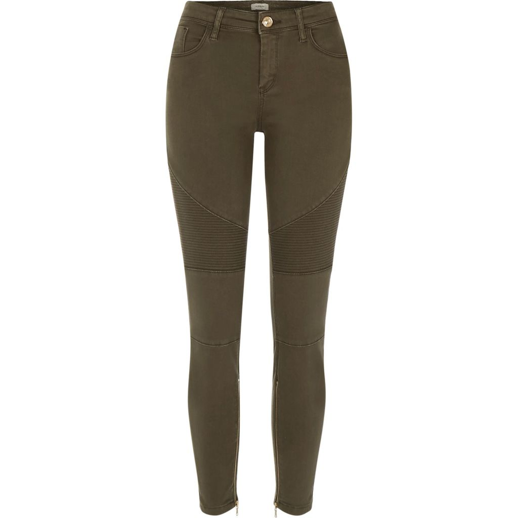 Womens Khaki Amelie Super Skinny Biker Jeans - style: skinny leg; length: standard; pattern: plain; waist: high rise; pocket detail: traditional 5 pocket; predominant colour: khaki; occasions: casual; fibres: cotton - mix; texture group: denim; pattern type: fabric; season: s/s 2016