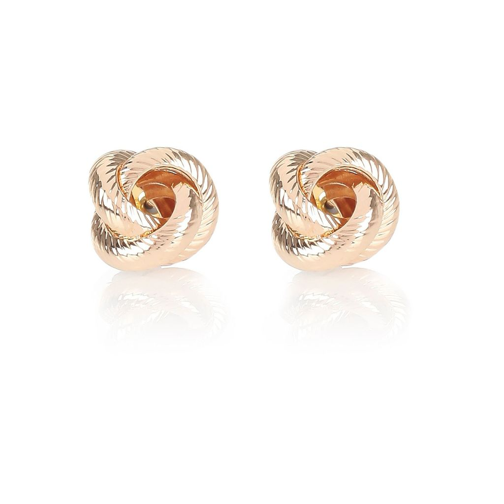 Womens Gold Tone Knotted Stud Earrings - predominant colour: gold; occasions: evening, occasion; style: stud; length: short; size: small/fine; material: chain/metal; fastening: pierced; finish: metallic; season: s/s 2016; wardrobe: event