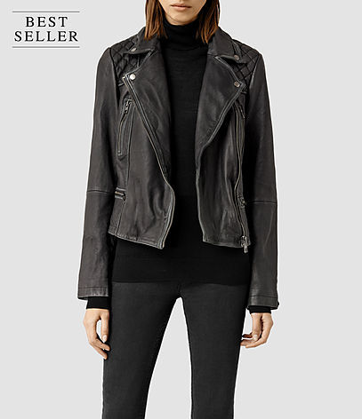 Cargo Leather Biker Jacket - pattern: plain; style: biker; collar: asymmetric biker; fit: loose; predominant colour: black; occasions: casual; length: standard; fibres: leather - 100%; sleeve length: long sleeve; sleeve style: standard; texture group: leather; collar break: medium; pattern type: fabric; season: s/s 2016; wardrobe: basic