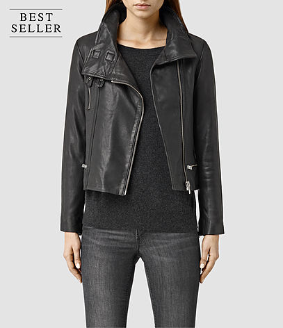 Bales Leather Biker Jacket - pattern: plain; style: biker; collar: asymmetric biker; fit: slim fit; predominant colour: black; occasions: casual, creative work; length: standard; fibres: leather - 100%; sleeve length: long sleeve; sleeve style: standard; texture group: leather; collar break: high/illusion of break when open; pattern type: fabric; season: s/s 2016