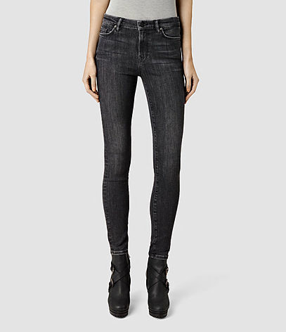 Grace Jeans - style: skinny leg; length: standard; pattern: plain; pocket detail: traditional 5 pocket; waist: mid/regular rise; predominant colour: black; occasions: casual; fibres: cotton - stretch; jeans detail: dark wash; texture group: denim; pattern type: fabric; season: s/s 2016; wardrobe: basic