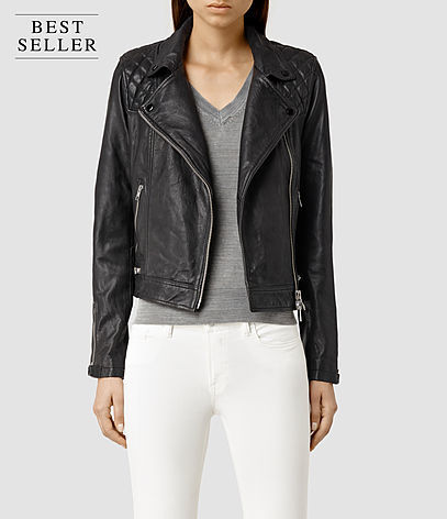Conroy Leather Biker Jacket - pattern: plain; style: biker; collar: asymmetric biker; fit: slim fit; predominant colour: black; occasions: casual, evening, creative work; length: standard; fibres: leather - 100%; sleeve length: long sleeve; sleeve style: standard; texture group: leather; collar break: medium; pattern type: fabric; season: s/s 2016; wardrobe: basic