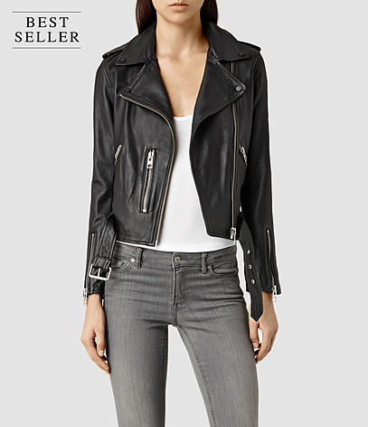 Balfern Leather Biker Jacket - pattern: plain; style: biker; collar: asymmetric biker; fit: slim fit; predominant colour: black; occasions: casual, evening, creative work; length: standard; fibres: leather - 100%; sleeve length: long sleeve; sleeve style: standard; texture group: leather; collar break: medium; pattern type: fabric; season: s/s 2016; wardrobe: basic