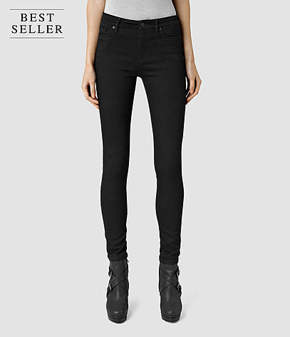 Grace Jeans - style: skinny leg; length: standard; pattern: plain; pocket detail: traditional 5 pocket; waist: mid/regular rise; predominant colour: black; occasions: casual; fibres: cotton - 100%; texture group: denim; pattern type: fabric; season: s/s 2016