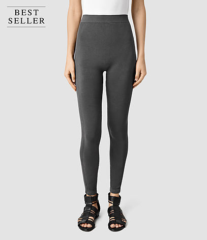 Bri Leggings - pattern: plain; style: leggings; waist: high rise; hip detail: draws attention to hips; predominant colour: charcoal; occasions: casual; length: ankle length; fibres: cotton - stretch; texture group: jersey - clingy; fit: skinny/tight leg; pattern type: fabric; season: s/s 2016; wardrobe: basic