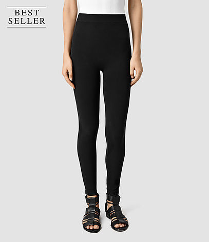 Bri Leggings - pattern: plain; style: leggings; waist detail: elasticated waist; waist: high rise; predominant colour: black; occasions: casual; length: ankle length; fibres: cotton - stretch; texture group: jersey - clingy; fit: skinny/tight leg; pattern type: fabric; season: s/s 2016; wardrobe: basic