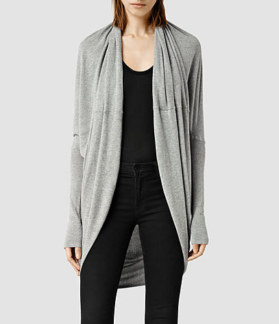 Itat Shrug - pattern: plain; neckline: collarless open; style: open front; predominant colour: light grey; occasions: casual, creative work; fibres: cotton - mix; fit: loose; length: mid thigh; sleeve length: long sleeve; sleeve style: standard; pattern type: fabric; texture group: jersey - stretchy/drapey; season: s/s 2016