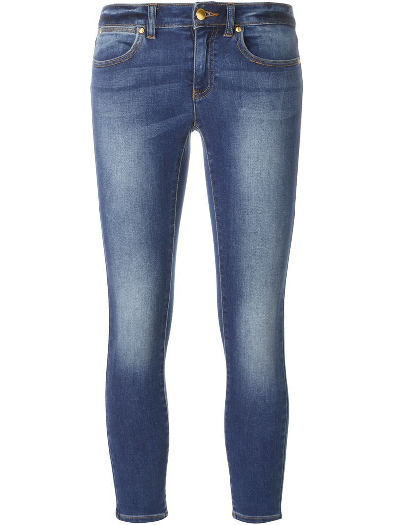 Cropped Skinny Jeans, Women's, Blue - style: skinny leg; pattern: plain; waist: mid/regular rise; predominant colour: denim; occasions: casual; length: ankle length; fibres: cotton - stretch; jeans detail: shading down centre of thigh; texture group: denim; pattern type: fabric; season: s/s 2016; wardrobe: basic