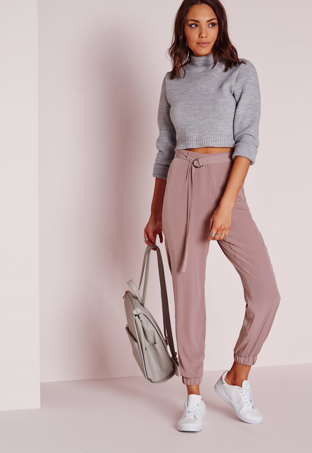 Belt Woven Joggers Rose Pink, Red - pattern: plain; style: tracksuit pants; waist: high rise; waist detail: belted waist/tie at waist/drawstring; predominant colour: pink; occasions: casual; length: ankle length; fibres: polyester/polyamide - 100%; texture group: crepes; fit: baggy; pattern type: fabric; pattern size: standard (bottom); season: s/s 2016; wardrobe: highlight