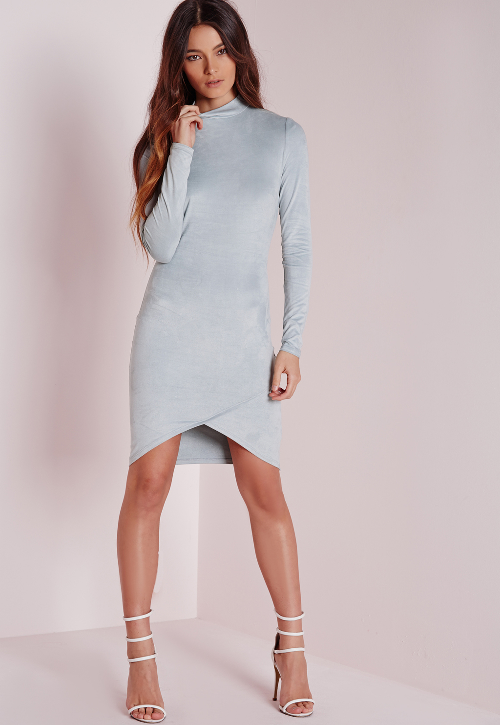 Long Sleeve Suede Bodycon Dress Powder Blue, Blue - length: mid thigh; fit: tight; pattern: plain; neckline: high neck; style: bodycon; hip detail: fitted at hip; predominant colour: pale blue; occasions: evening; fibres: polyester/polyamide - stretch; sleeve length: long sleeve; sleeve style: standard; pattern type: fabric; texture group: suede; season: s/s 2016; wardrobe: event