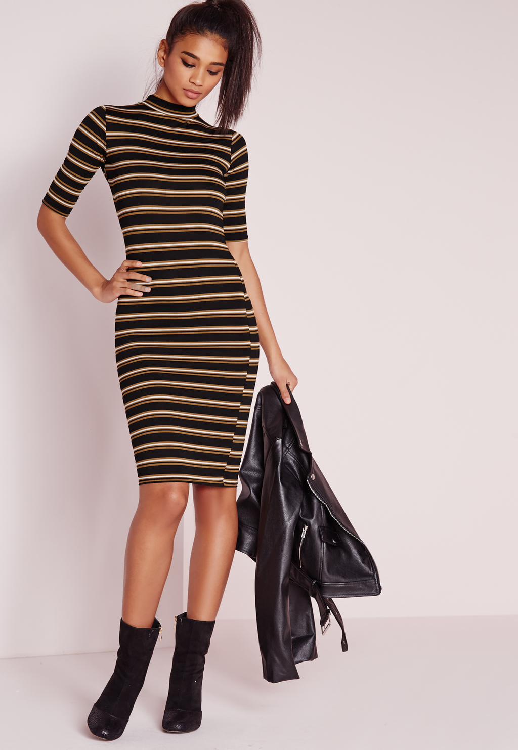 High Neck Stripe Midi Dress Camel, Black - fit: tight; pattern: horizontal stripes; neckline: high neck; style: bodycon; predominant colour: black; occasions: evening, creative work; length: just above the knee; sleeve length: half sleeve; sleeve style: standard; texture group: jersey - clingy; pattern type: fabric; fibres: viscose/rayon - mix; multicoloured: multicoloured; season: s/s 2016; wardrobe: highlight