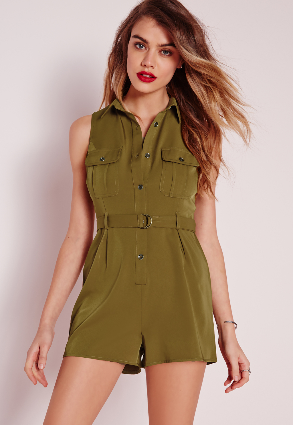 Pocket Front D Ring Pocket Playsuit Khaki, Beige - neckline: shirt collar/peter pan/zip with opening; fit: fitted at waist; pattern: plain; sleeve style: sleeveless; bust detail: pocket detail at bust; waist detail: belted waist/tie at waist/drawstring; length: mid thigh shorts; predominant colour: khaki; occasions: casual, creative work; fibres: polyester/polyamide - 100%; sleeve length: sleeveless; texture group: sheer fabrics/chiffon/organza etc.; style: playsuit; pattern type: fabric; season: s/s 2016