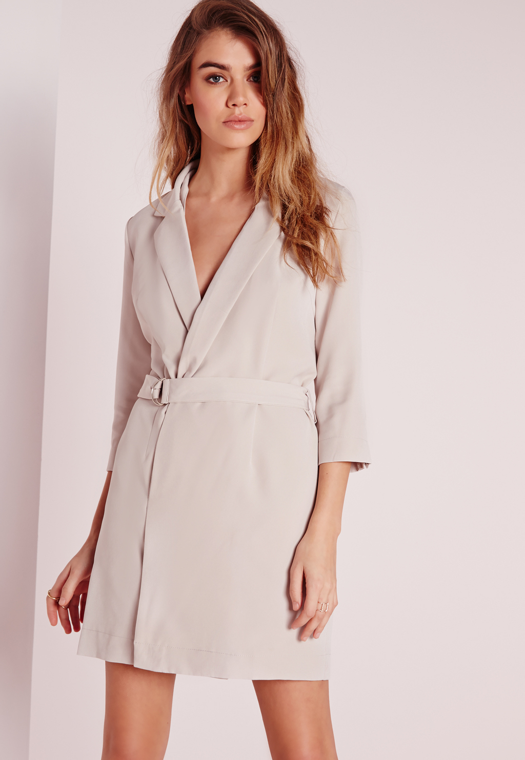 D Ring Blazer Dress Grey, Grey - style: shift; length: mid thigh; neckline: v-neck; pattern: plain; waist detail: belted waist/tie at waist/drawstring; predominant colour: light grey; fit: body skimming; fibres: polyester/polyamide - stretch; occasions: occasion; sleeve length: 3/4 length; sleeve style: standard; pattern type: fabric; texture group: other - light to midweight; season: s/s 2016; wardrobe: event