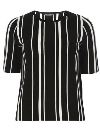 Womens Black And White Vertical Stripe Top Black - neckline: round neck; pattern: vertical stripes; secondary colour: white; predominant colour: black; occasions: casual, creative work; length: standard; style: top; fit: body skimming; sleeve length: short sleeve; sleeve style: standard; trends: monochrome, graphic stripes; texture group: crepes; pattern type: fabric; pattern size: light/subtle; fibres: viscose/rayon - mix; season: s/s 2016; wardrobe: highlight