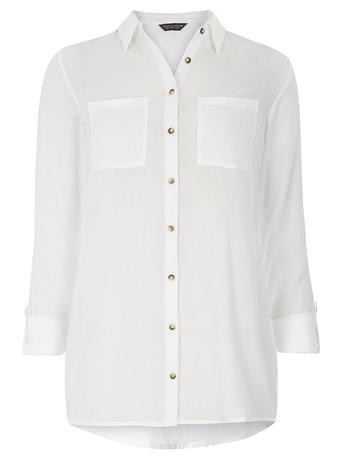 Womens White Twill Safari Shirt White - neckline: shirt collar/peter pan/zip with opening; pattern: plain; style: shirt; predominant colour: white; occasions: casual; length: standard; fibres: cotton - 100%; fit: body skimming; sleeve length: long sleeve; sleeve style: standard; texture group: cotton feel fabrics; bust detail: bulky details at bust; pattern type: fabric; season: s/s 2016; wardrobe: basic
