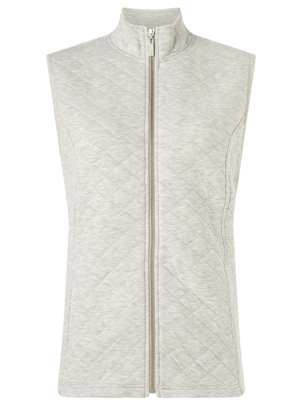 Silver Interlock Gilet - sleeve style: sleeveless; style: gilet; collar: funnel; predominant colour: light grey; occasions: casual; length: standard; fit: straight cut (boxy); fibres: cotton - 100%; sleeve length: sleeveless; collar break: high; pattern type: fabric; texture group: other - light to midweight; embellishment: quilted; pattern: marl; season: s/s 2016; wardrobe: highlight