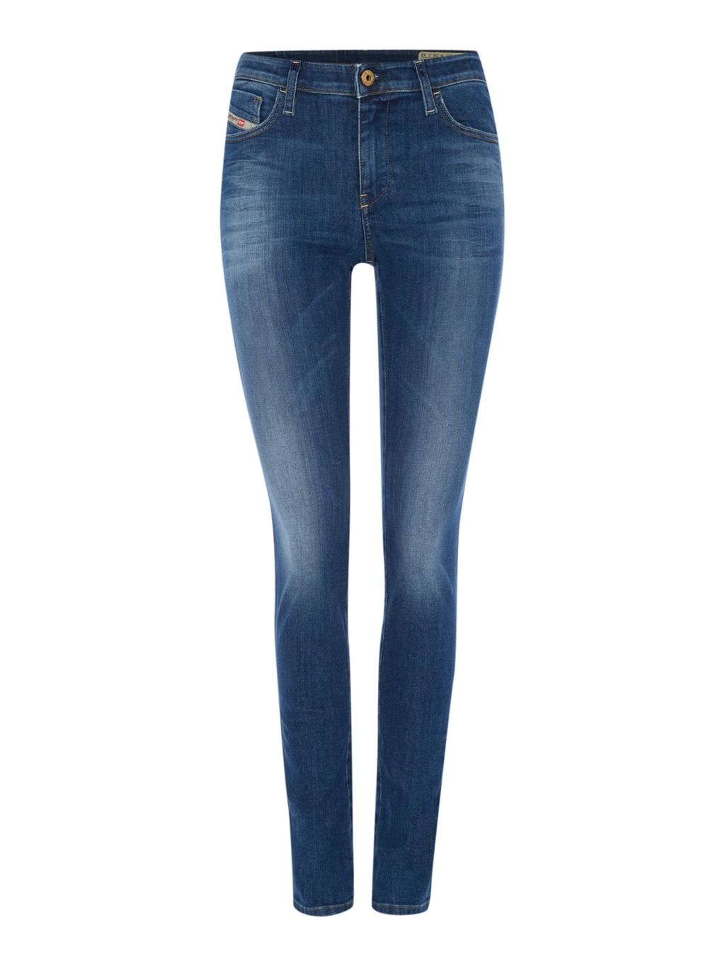 Skinzee 0826 F Skinny Leg 32 Jeans, Blue - style: skinny leg; length: standard; pattern: plain; pocket detail: traditional 5 pocket; waist: mid/regular rise; predominant colour: navy; occasions: casual; fibres: cotton - stretch; jeans detail: whiskering, washed/faded; texture group: denim; pattern type: fabric; season: s/s 2016