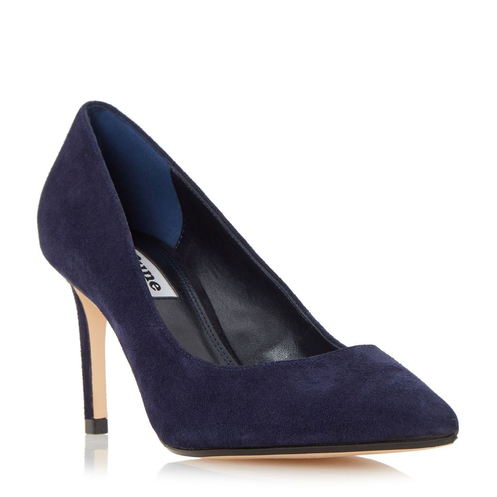 Abbigal Pointed Toe Court Shoes, Navy - predominant colour: navy; occasions: evening, occasion, creative work; material: suede; heel: stiletto; toe: pointed toe; style: courts; finish: plain; pattern: plain; heel height: very high; season: s/s 2016; wardrobe: highlight