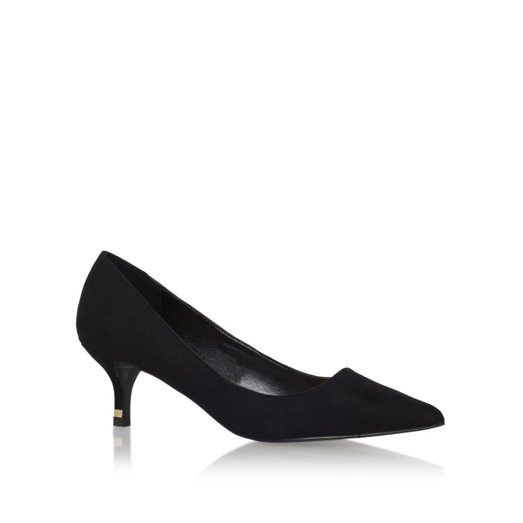 Samantha Mid Heel Court Shoes, Black - predominant colour: black; occasions: evening, work, occasion; material: fabric; heel height: mid; heel: kitten; toe: pointed toe; style: courts; finish: plain; pattern: plain; season: s/s 2016; wardrobe: investment