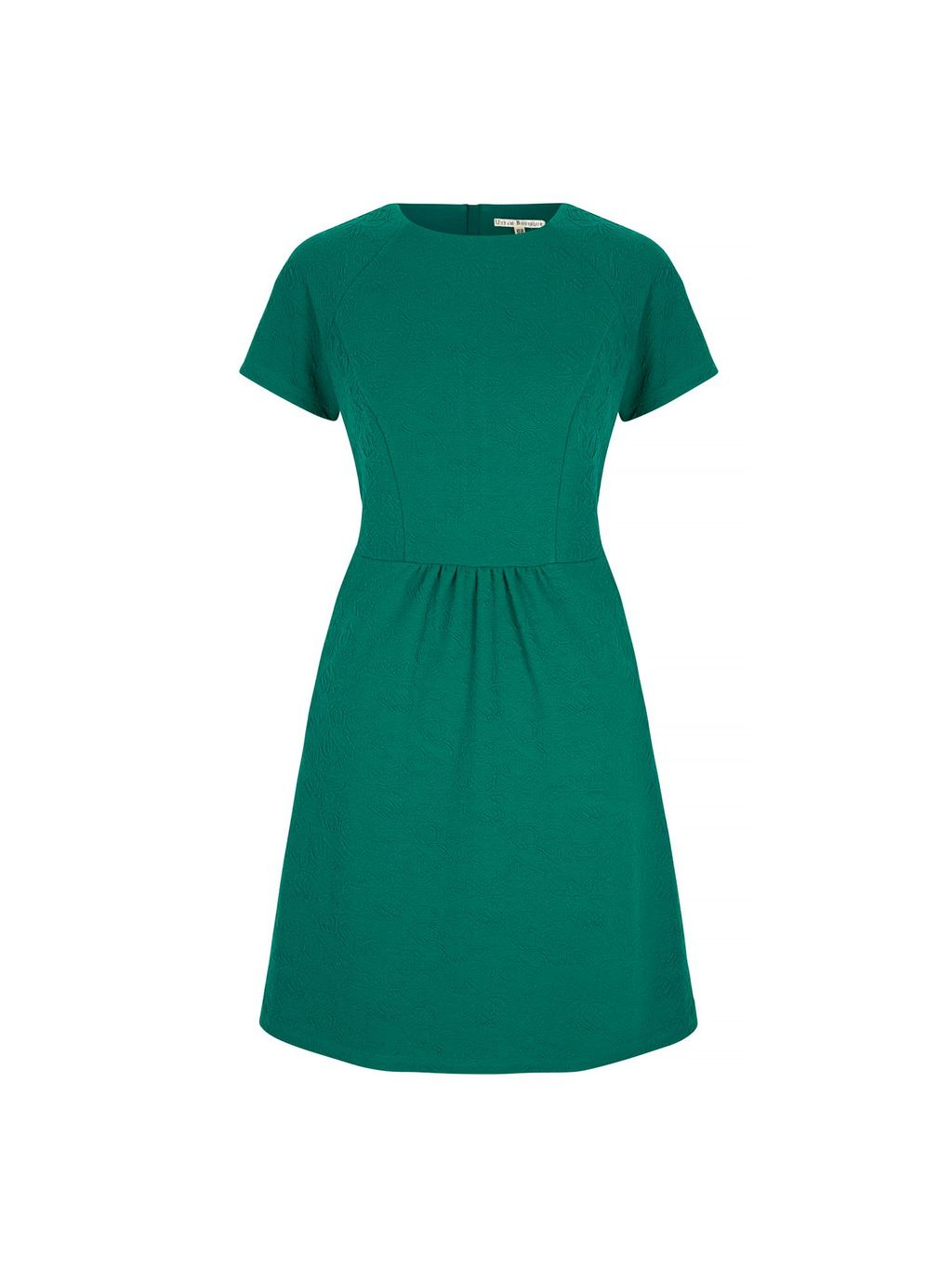 Textured Ponte Day Dress, Green - pattern: plain; predominant colour: emerald green; occasions: evening; length: just above the knee; fit: fitted at waist & bust; style: fit & flare; fibres: polyester/polyamide - stretch; neckline: crew; sleeve length: short sleeve; sleeve style: standard; pattern type: fabric; texture group: jersey - stretchy/drapey; season: s/s 2016; wardrobe: event