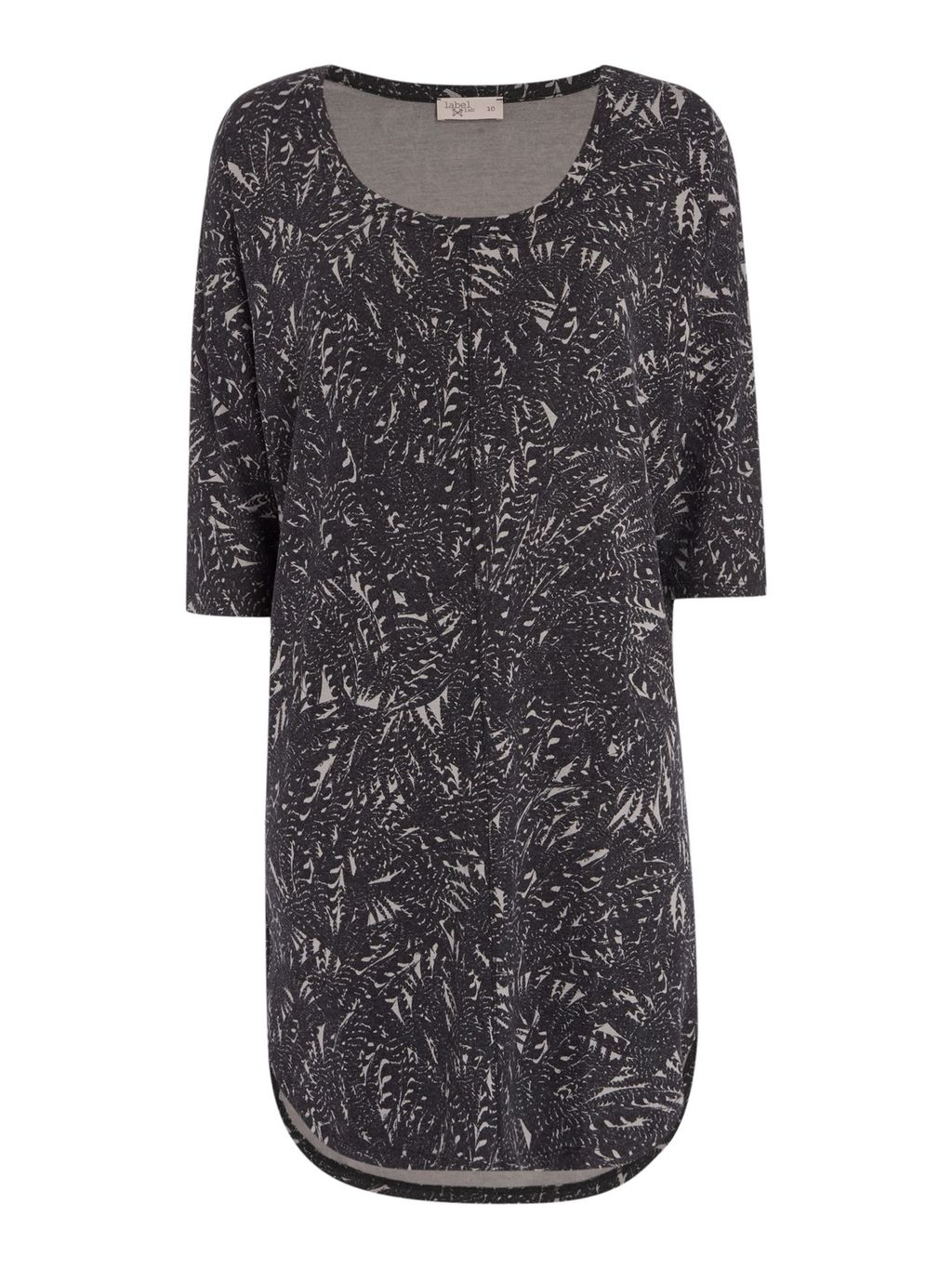Feather Print Supersoft Cocoon Dress, Grey - style: tunic; length: mid thigh; predominant colour: charcoal; secondary colour: light grey; occasions: casual; fit: straight cut; neckline: scoop; fibres: cotton - stretch; sleeve length: 3/4 length; sleeve style: standard; pattern type: fabric; pattern size: standard; pattern: patterned/print; texture group: jersey - stretchy/drapey; season: s/s 2016; wardrobe: highlight