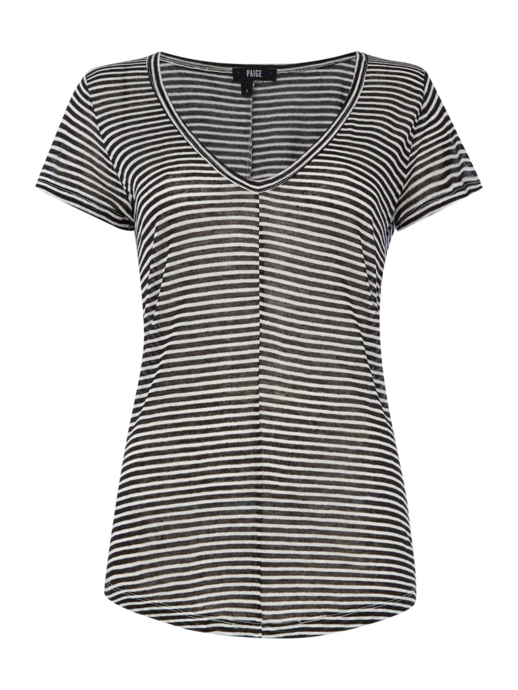 Short Sleeve Hadley Stripe Tee, Black/White - neckline: v-neck; pattern: horizontal stripes; style: t-shirt; predominant colour: white; secondary colour: black; occasions: casual; length: standard; fibres: viscose/rayon - stretch; fit: body skimming; sleeve length: short sleeve; sleeve style: standard; pattern type: fabric; pattern size: standard; texture group: jersey - stretchy/drapey; season: s/s 2016; wardrobe: basic