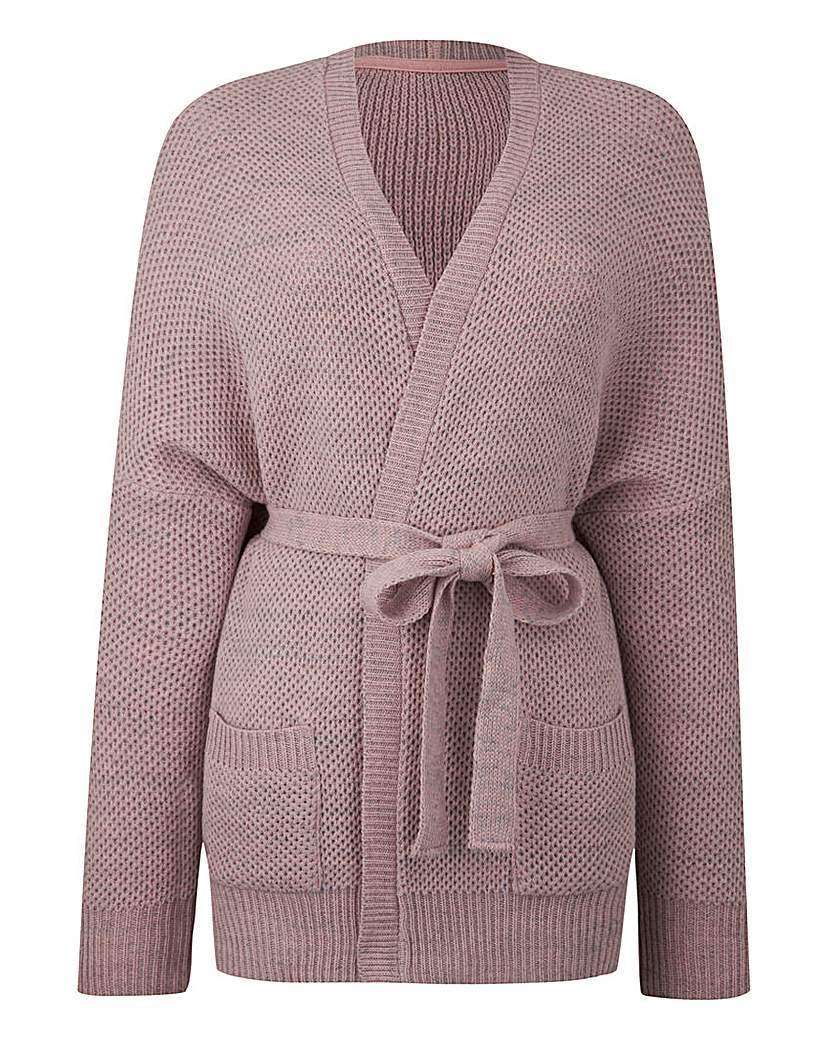 Belted Cardigan - neckline: v-neck; pattern: plain; style: wrap; predominant colour: blush; occasions: casual; length: standard; fibres: acrylic - 100%; fit: slim fit; waist detail: belted waist/tie at waist/drawstring; sleeve length: long sleeve; sleeve style: standard; texture group: knits/crochet; pattern type: fabric; season: s/s 2016
