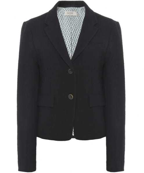 Cropped Cotton Jacket - pattern: plain; style: single breasted blazer; collar: standard lapel/rever collar; predominant colour: black; occasions: work; length: standard; fit: tailored/fitted; fibres: cotton - 100%; sleeve length: long sleeve; sleeve style: standard; texture group: cotton feel fabrics; collar break: medium; pattern type: fabric; season: s/s 2016; wardrobe: investment