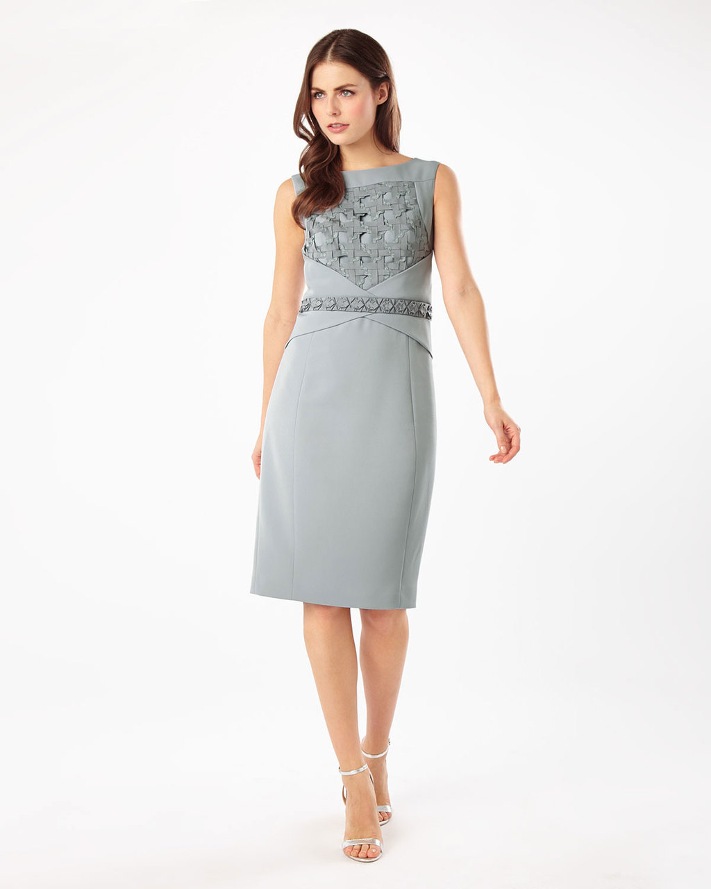 Dress Two - style: shift; fit: tailored/fitted; sleeve style: sleeveless; predominant colour: light grey; length: on the knee; fibres: polyester/polyamide - stretch; occasions: occasion; neckline: crew; sleeve length: sleeveless; pattern type: fabric; pattern: patterned/print; texture group: other - light to midweight; embellishment: applique; season: s/s 2016; wardrobe: event; embellishment location: bust, waist
