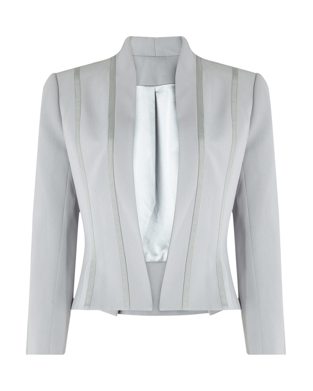 Jacket Two - pattern: plain; style: single breasted blazer; collar: round collar/collarless; predominant colour: light grey; fit: tailored/fitted; fibres: polyester/polyamide - 100%; occasions: occasion; sleeve length: 3/4 length; sleeve style: standard; texture group: crepes; collar break: low/open; pattern type: fabric; length: cropped; season: s/s 2016; wardrobe: event