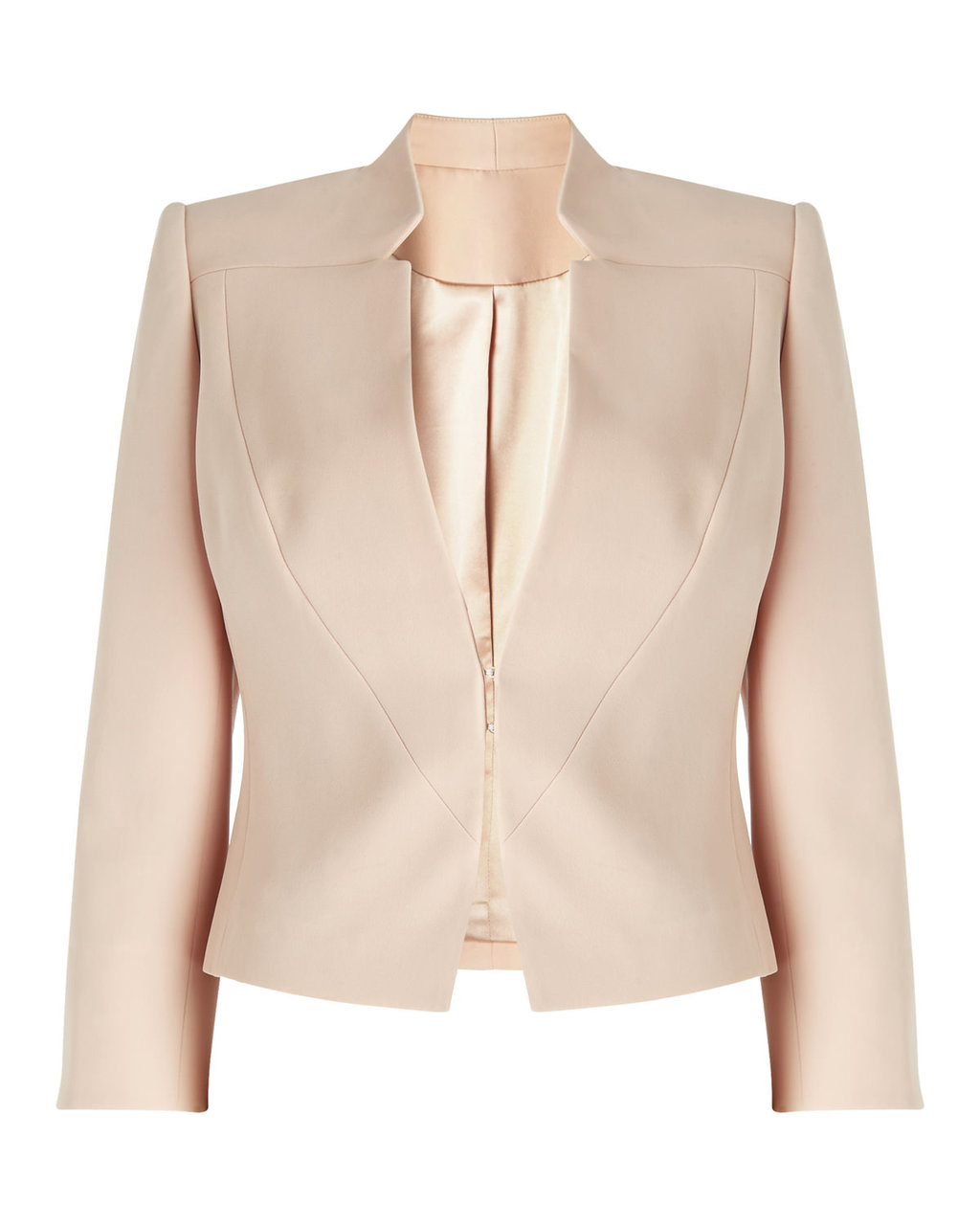 Jacket Five - pattern: plain; style: single breasted blazer; collar: round collar/collarless; predominant colour: nude; fit: tailored/fitted; fibres: polyester/polyamide - mix; occasions: occasion; sleeve length: 3/4 length; sleeve style: standard; texture group: structured shiny - satin/tafetta/silk etc.; collar break: medium; pattern type: fabric; length: cropped; season: s/s 2016; wardrobe: event