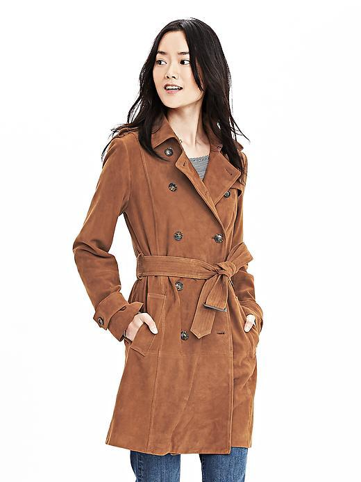 Suede Trench Totem Brown - pattern: plain; style: trench coat; collar: standard lapel/rever collar; length: mid thigh; predominant colour: tan; occasions: casual, creative work; fit: straight cut (boxy); fibres: leather - 100%; hip detail: adds bulk at the hips; waist detail: belted waist/tie at waist/drawstring; sleeve length: long sleeve; sleeve style: standard; collar break: low/open; pattern type: fabric; texture group: suede; season: s/s 2016; wardrobe: highlight