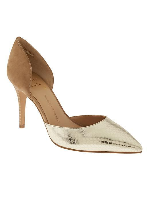 Alicia D'orsay Pump Pale Gold - secondary colour: camel; predominant colour: gold; occasions: evening, occasion; material: leather; heel height: mid; heel: stiletto; toe: pointed toe; style: courts; finish: metallic; pattern: plain; season: s/s 2016; wardrobe: event
