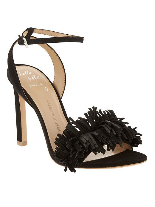 Honey Fringe Sandal Black - predominant colour: black; occasions: evening, occasion; material: leather; heel height: high; ankle detail: ankle strap; heel: standard; toe: open toe/peeptoe; style: standard; finish: plain; pattern: plain; embellishment: fringing; season: s/s 2016; wardrobe: event
