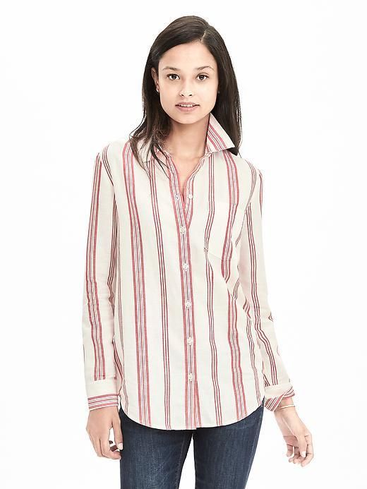 Dillon Fit Striped Linen/Cotton Shirt Dark Saffron - neckline: shirt collar/peter pan/zip with opening; pattern: vertical stripes; length: below the bottom; style: shirt; predominant colour: blush; occasions: casual, work, creative work; fibres: linen - mix; fit: body skimming; sleeve length: long sleeve; sleeve style: standard; texture group: linen; pattern type: fabric; pattern size: big & busy (top); multicoloured: multicoloured; season: s/s 2016; wardrobe: highlight