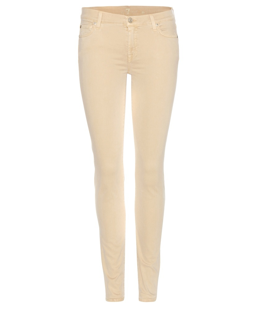 The Skinny Jeans - style: skinny leg; length: standard; pattern: plain; pocket detail: traditional 5 pocket; waist: mid/regular rise; predominant colour: nude; occasions: casual; fibres: cotton - stretch; texture group: denim; pattern type: fabric; season: s/s 2016; wardrobe: highlight