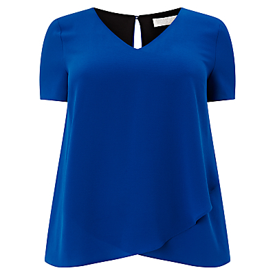 Layered Top, Cobalt - neckline: v-neck; pattern: plain; predominant colour: royal blue; length: standard; style: top; fibres: polyester/polyamide - 100%; fit: loose; back detail: keyhole/peephole detail at back; sleeve length: short sleeve; sleeve style: standard; texture group: crepes; pattern type: fabric; occasions: creative work; season: s/s 2016; wardrobe: highlight