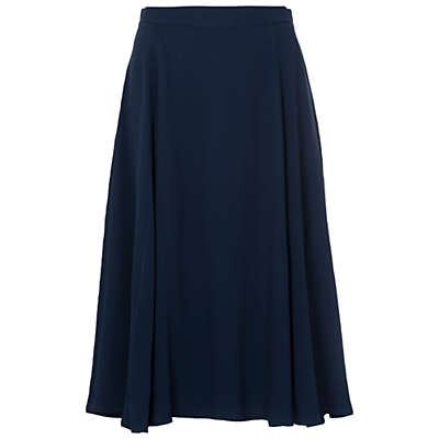 Rikki Crepe Flared Skirt - length: below the knee; pattern: plain; fit: loose/voluminous; style: pleated; waist: high rise; predominant colour: navy; fibres: viscose/rayon - 100%; occasions: occasion, creative work; hip detail: soft pleats at hip/draping at hip/flared at hip; waist detail: narrow waistband; texture group: crepes; pattern type: fabric; season: s/s 2016