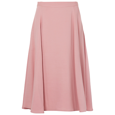 Rikki Crepe Flared Skirt - length: below the knee; pattern: plain; fit: loose/voluminous; style: pleated; waist: high rise; predominant colour: pink; fibres: viscose/rayon - 100%; occasions: occasion; hip detail: subtle/flattering hip detail; waist detail: feature waist detail; texture group: crepes; pattern type: fabric; season: s/s 2016; wardrobe: event