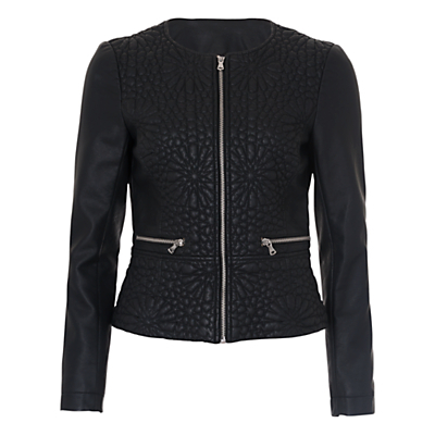 Medina Stitch Pu Zip Thru Jacket, Black - pattern: plain; collar: round collar/collarless; style: boxy; predominant colour: black; occasions: casual, creative work; length: standard; fit: straight cut (boxy); waist detail: peplum detail at waist; sleeve length: long sleeve; sleeve style: standard; texture group: leather; collar break: high; pattern type: fabric; embellishment: embroidered; fibres: pvc/polyurethene - 100%; season: s/s 2016; wardrobe: highlight; embellishment location: bust