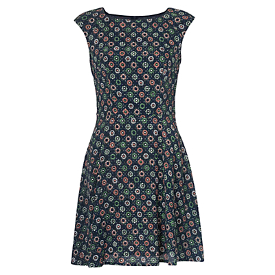 Medina Tile Drop Dress, Mineral Green Multi - length: mid thigh; neckline: round neck; sleeve style: capped; predominant colour: navy; secondary colour: emerald green; occasions: casual; fit: fitted at waist & bust; style: fit & flare; fibres: viscose/rayon - 100%; hip detail: subtle/flattering hip detail; sleeve length: sleeveless; texture group: crepes; pattern type: fabric; pattern size: standard; pattern: patterned/print; season: s/s 2016; wardrobe: highlight