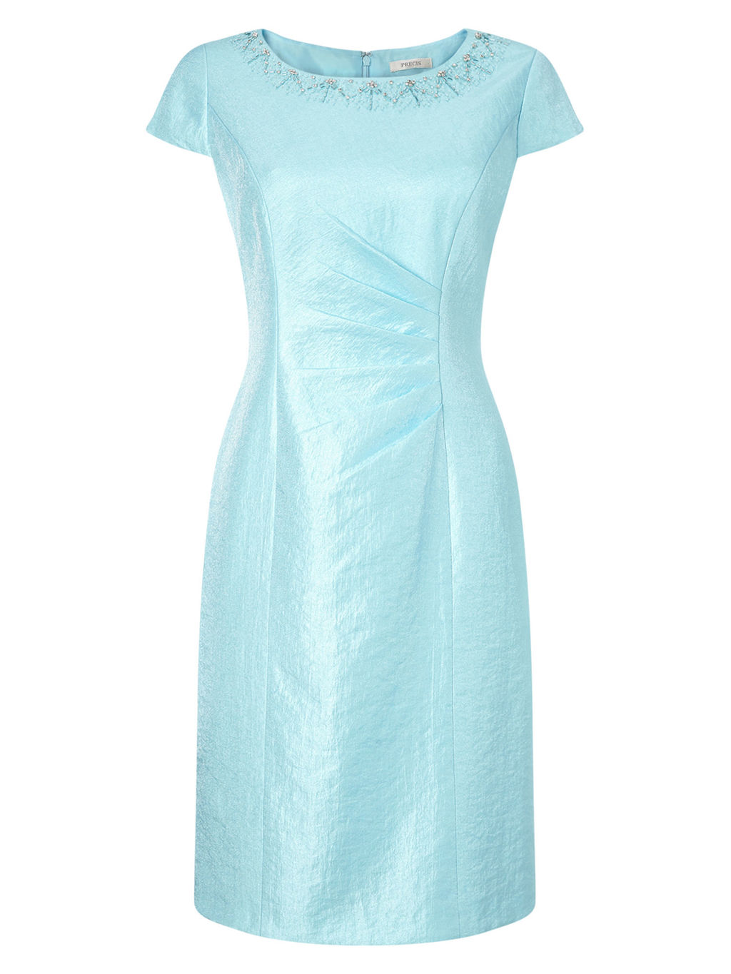 By Jeff Banks Shift Dress, Coral - style: shift; neckline: round neck; sleeve style: capped; fit: tailored/fitted; pattern: plain; predominant colour: pale blue; secondary colour: silver; length: on the knee; occasions: occasion; sleeve length: short sleeve; texture group: structured shiny - satin/tafetta/silk etc.; pattern type: fabric; embellishment: beading; fibres: viscose/rayon - mix; season: s/s 2016; wardrobe: event; embellishment location: bust