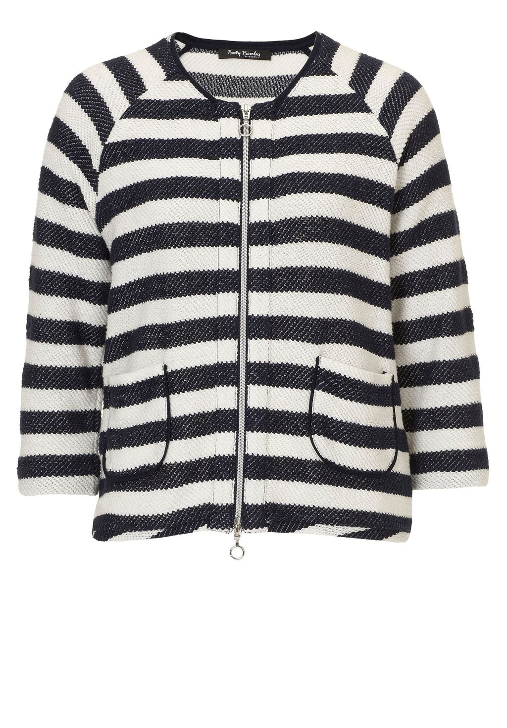 Striped Cardigan With Zip, Navy - neckline: round neck; sleeve style: raglan; pattern: horizontal stripes; secondary colour: ivory/cream; predominant colour: navy; occasions: casual, creative work; length: standard; style: standard; fibres: cotton - mix; fit: standard fit; sleeve length: 3/4 length; texture group: knits/crochet; pattern type: knitted - fine stitch; season: s/s 2016; wardrobe: highlight