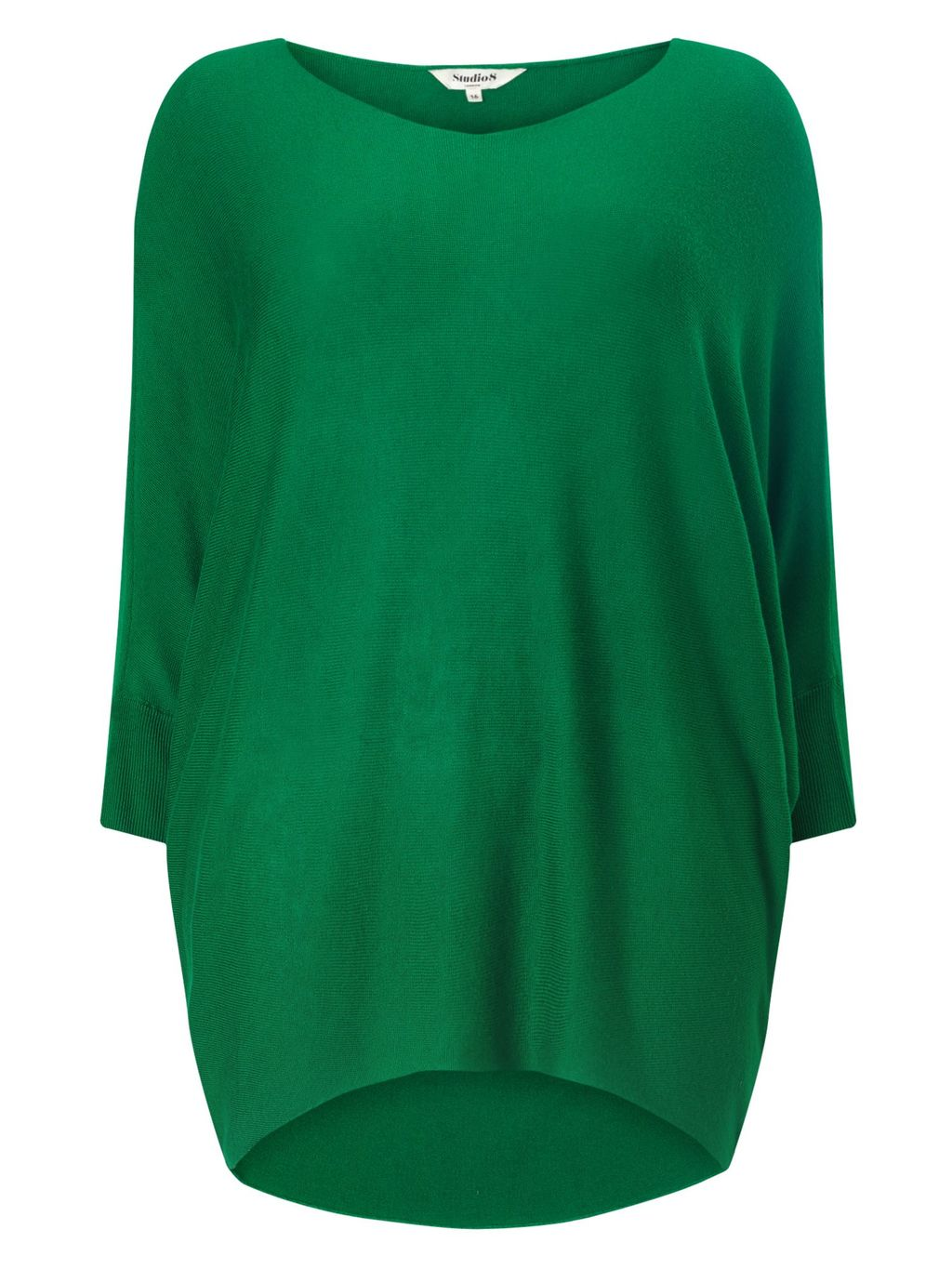 Beth Batwing Jumper, Emerald - pattern: plain; length: below the bottom; style: standard; predominant colour: emerald green; occasions: casual; fit: loose; neckline: crew; sleeve length: long sleeve; sleeve style: standard; pattern type: fabric; texture group: jersey - stretchy/drapey; fibres: viscose/rayon - mix; season: s/s 2016; wardrobe: highlight