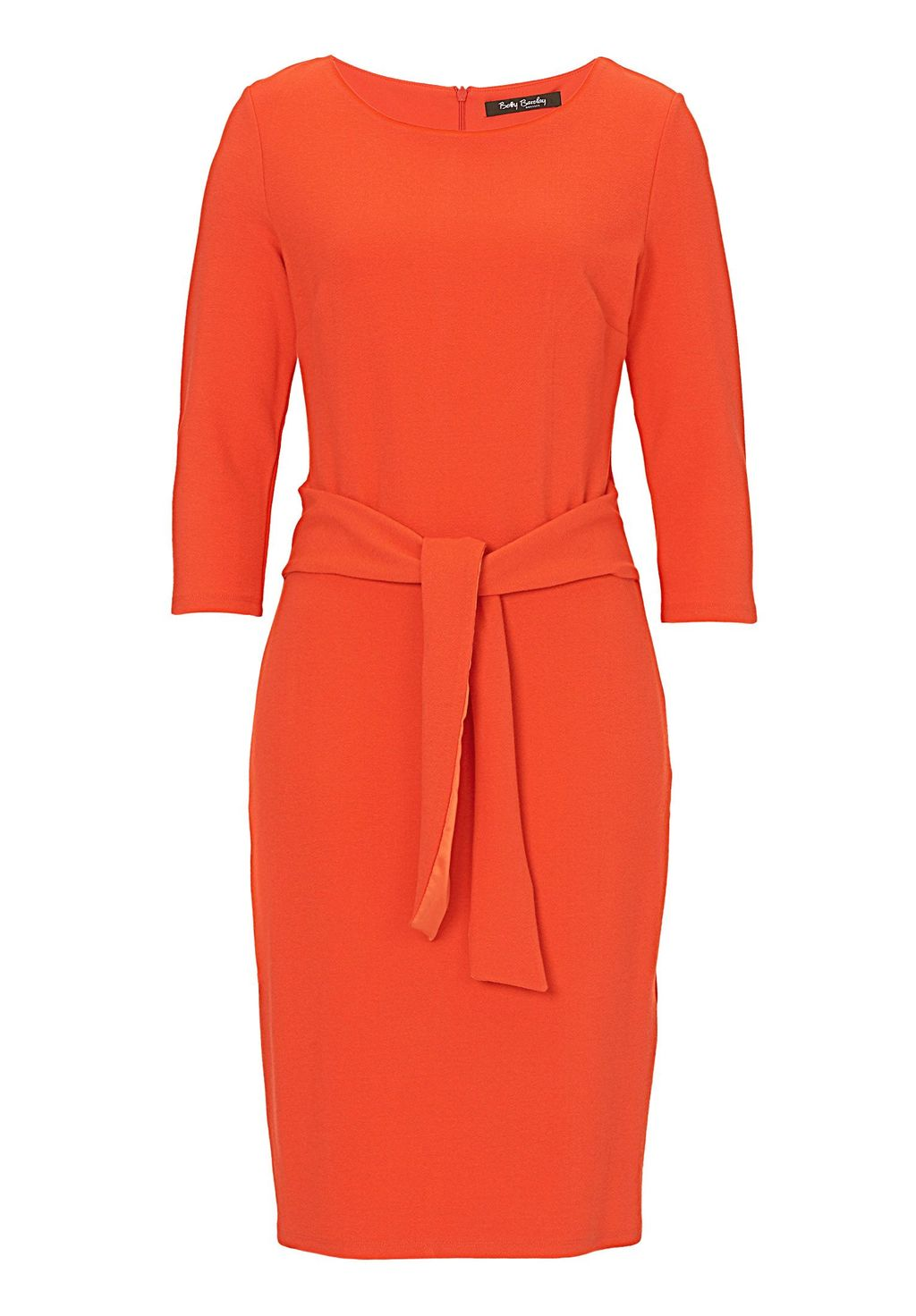 Textured Jersey Dress, Orange - style: shift; neckline: round neck; fit: tailored/fitted; pattern: plain; hip detail: draws attention to hips; waist detail: belted waist/tie at waist/drawstring; predominant colour: bright orange; occasions: evening, creative work; length: just above the knee; fibres: polyester/polyamide - 100%; sleeve length: 3/4 length; sleeve style: standard; texture group: crepes; pattern type: fabric; season: s/s 2016; wardrobe: highlight