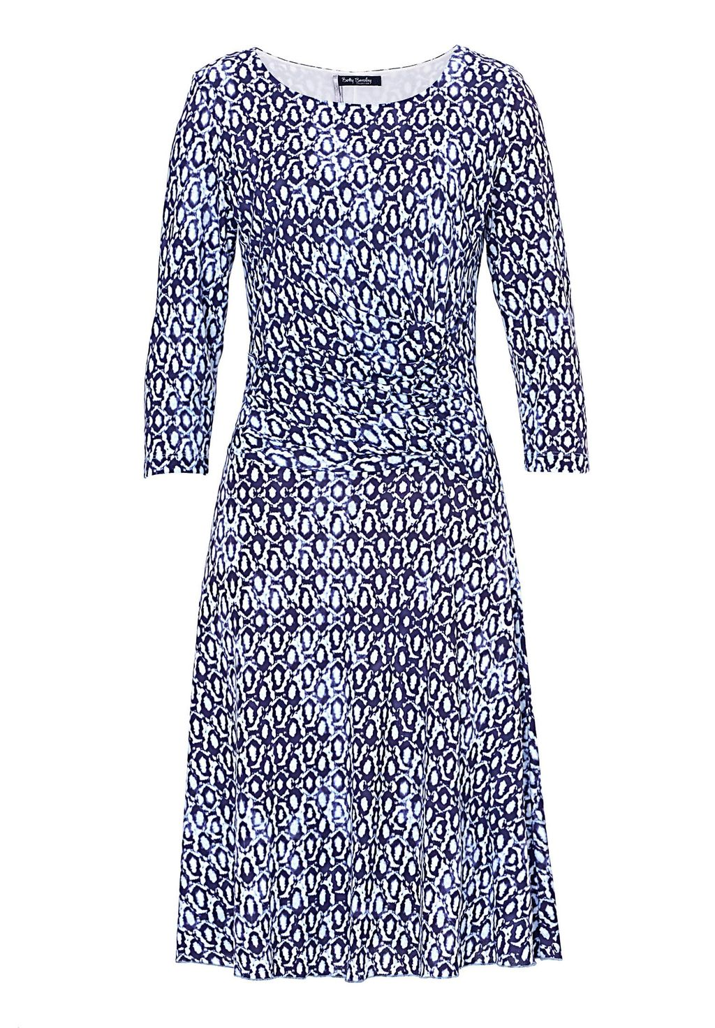 Printed Jersey Dress, Blue Multi - style: shift; neckline: round neck; secondary colour: white; predominant colour: navy; occasions: evening; length: just above the knee; fit: soft a-line; fibres: nylon - 100%; sleeve length: 3/4 length; sleeve style: standard; pattern type: fabric; pattern: patterned/print; texture group: jersey - stretchy/drapey; season: s/s 2016; wardrobe: event