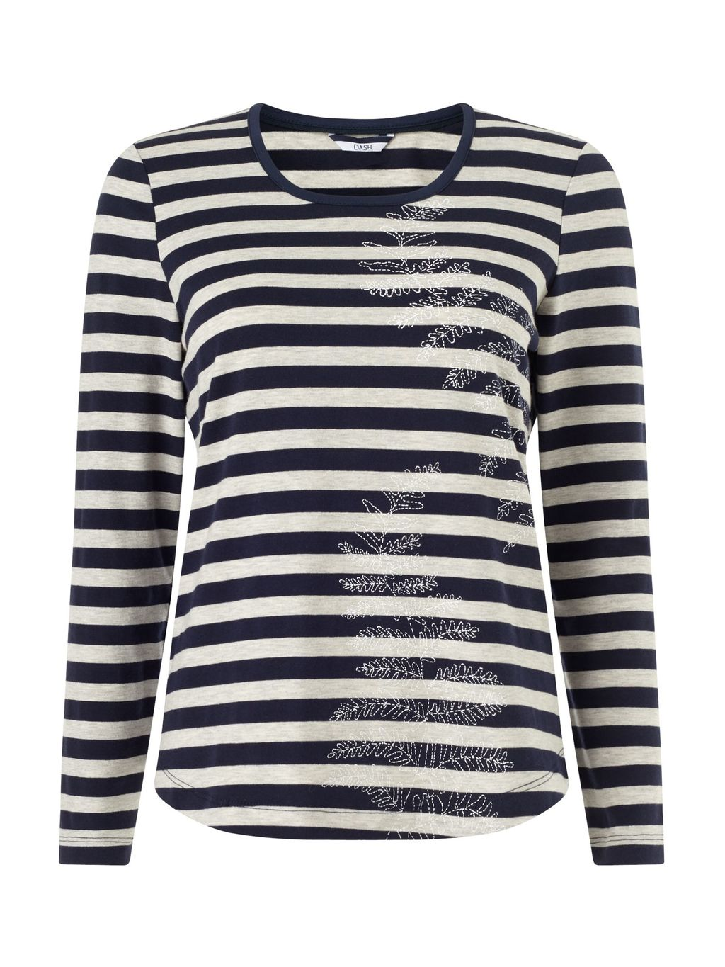 Print Placement Jersey Top, Multi Coloured - neckline: round neck; pattern: horizontal stripes; style: t-shirt; secondary colour: white; predominant colour: navy; occasions: casual, creative work; length: standard; fibres: cotton - mix; fit: body skimming; sleeve length: long sleeve; sleeve style: standard; pattern type: fabric; pattern size: light/subtle; texture group: jersey - stretchy/drapey; season: s/s 2016; trends: graphic stripes; wardrobe: basic